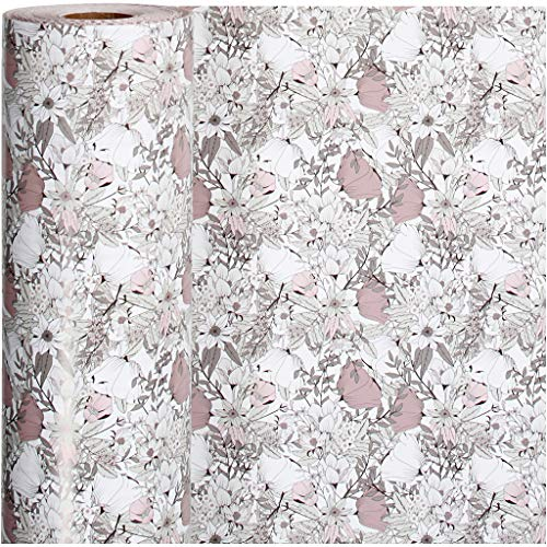 Inpakpapier, b: 57 cm, 80 gr, bruin, beige, wit, roze, bloemen, 150m