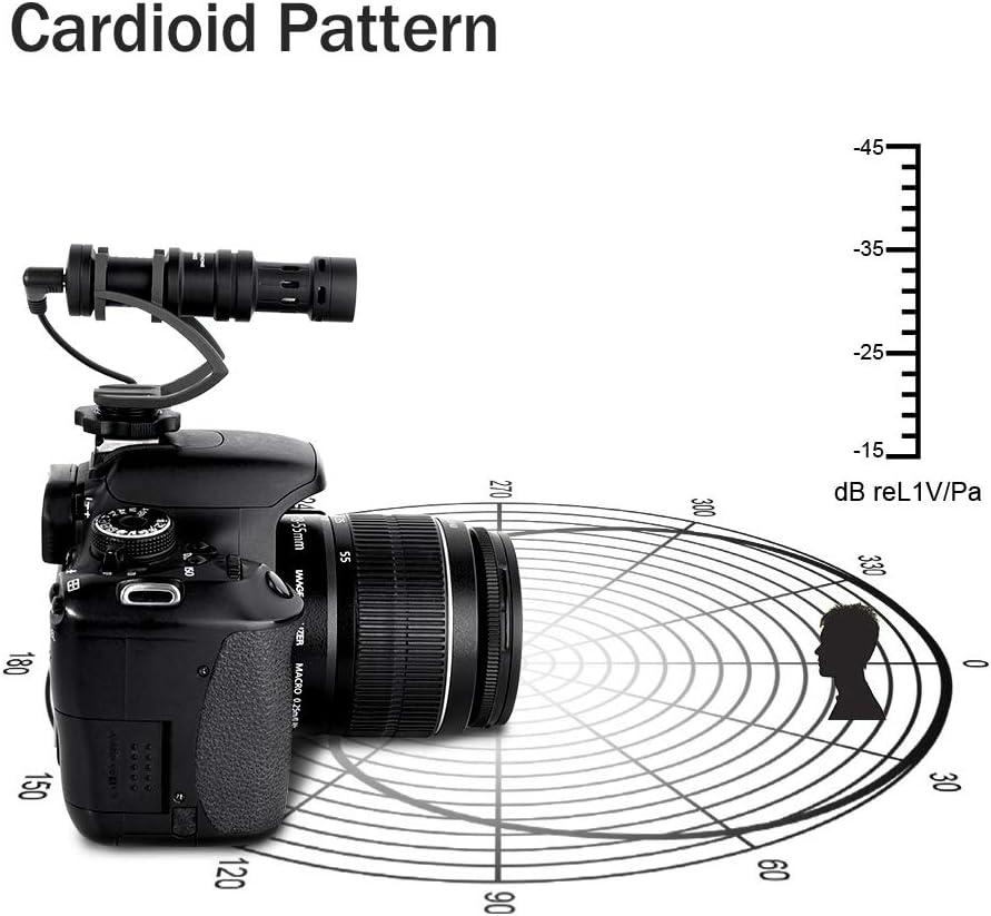A9//A7RII//A7RSII // GH5 y DSLR Camera Comica CVM-VM10II Completo Metal Compacto en c/ámara direccional Mini Escopeta Video micr/ófono cardioide para Smartphone iPhone,Huawei GH4 Black