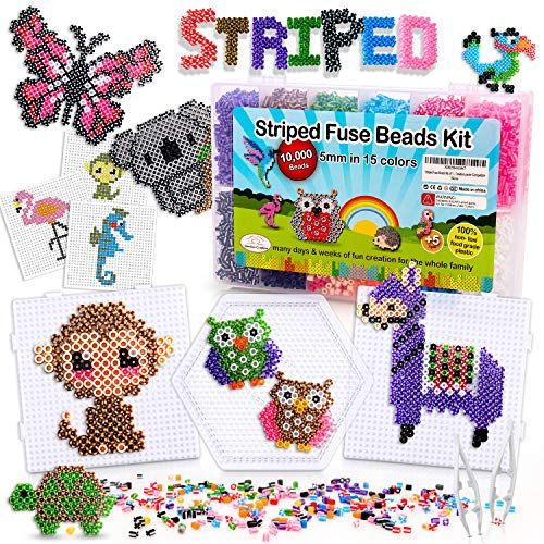 Striped & Normal Fuse Beads Kit of 10000 5MM with 50 Patterns and 3 Large Pegboard for DIY Art Creation perler Compatible