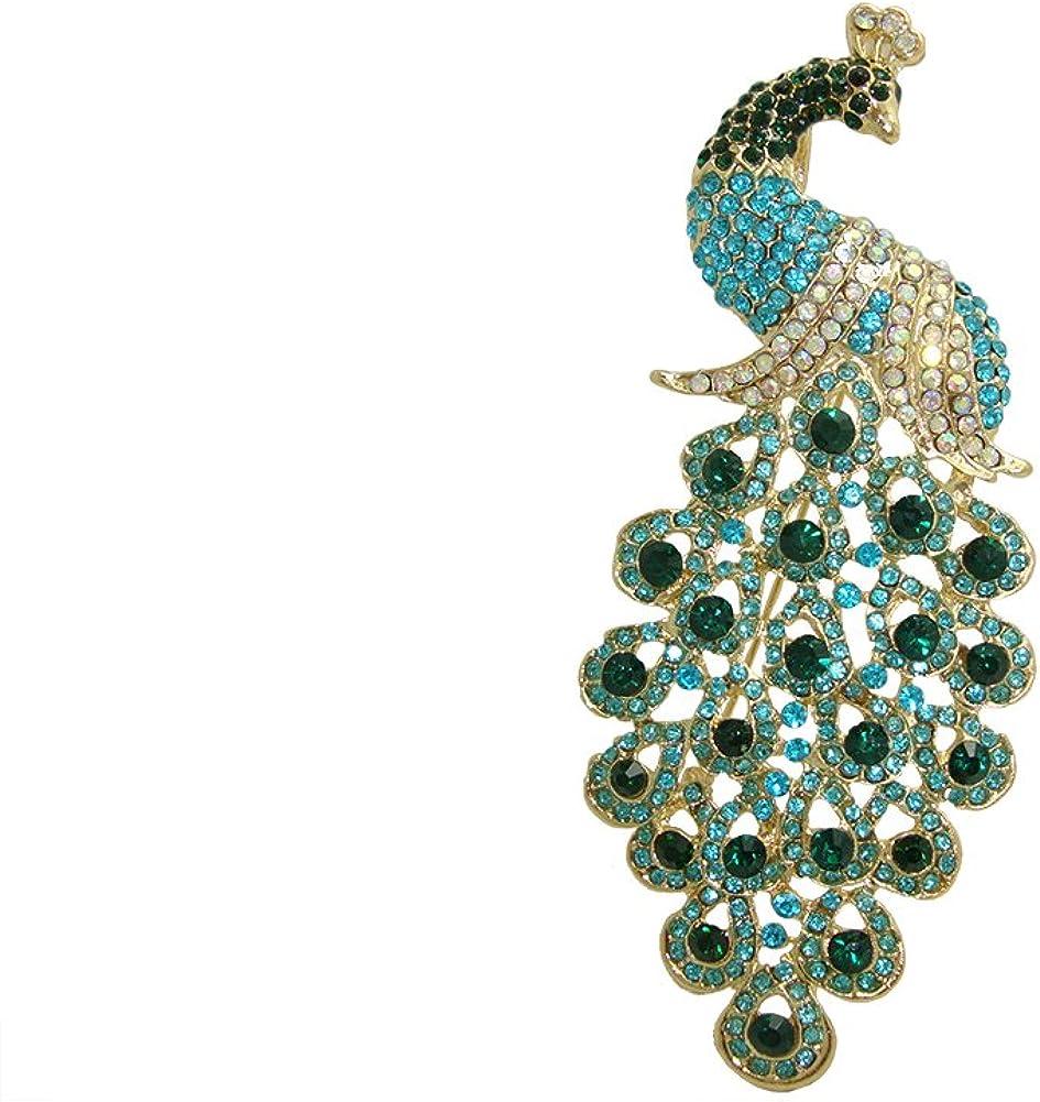 Sales for sale TTjewelry Vintage Peacock Bird Rhinestone Brooch Pin Max 77% OFF Crystal Art