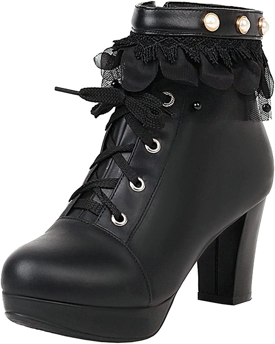 Agodor Women's Cute NEW Lolita Platform Ankle Boots Round Toe Popular popular Chunky