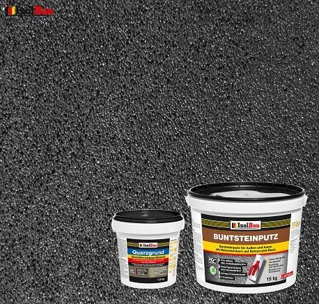 Buntsteinputz Mosaikputz BP100 (Anthrazit) 15kg Absolute ProfiQualität + Quarzgrund 1,5 kg