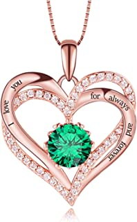 True Love Heart Necklace 925 Sterling Silver Rose Gold...