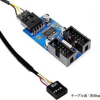Shengshou マザーボードのUSB 9ピン 増設 内部用4ポートUSB2.0 HUB