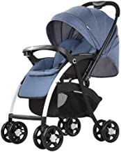 659874555 JFDKDH Double Stroller Direction Folding Pushchair,Lightweight Infant Pram,Buggy with Lying Position,Detachable Trays,Travel System One Hand Fold,Blue
