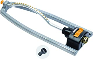 Melnor 65079-AMZ Metal Oscillating Sprinkler with QuickConnectProduct Adapter Watering Set, Silver, Yellow, Black