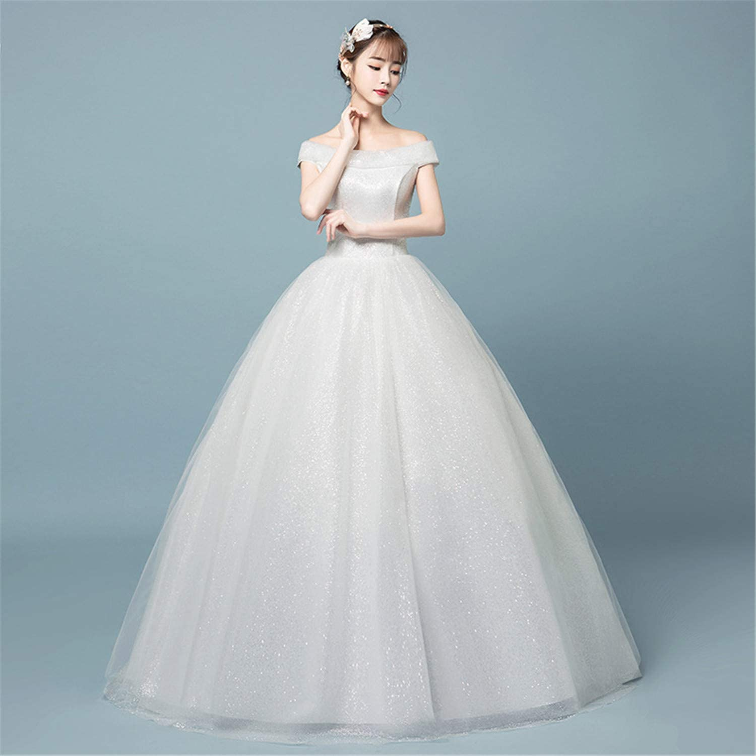 Wedding Dress Studio Lace Fluffy Skirt Princess Dress White Pleated Elegant Beautiful Evening Party