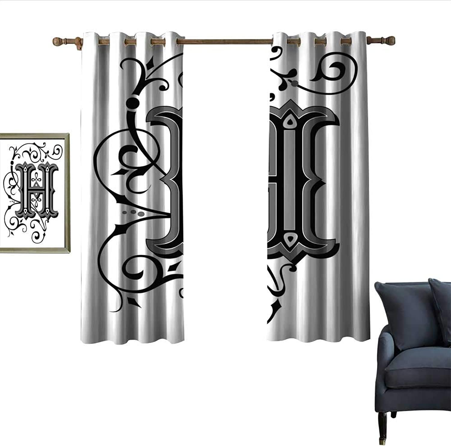 Longbuyer Letter H Simple Curtain Calligraphy Elements in Uppercase Letter H Design from Middle Ages Artwork Privacy Predection 55  Wx45 L Black Grey White