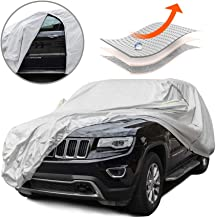 Tecoom MPD05 Multi-Protection Door Shape Zipper Design Waterproof UV-Proof Windproof Car Cover with Storage and Lock for All Weather Indoor Outdoor Fit 180-195 inches SUV