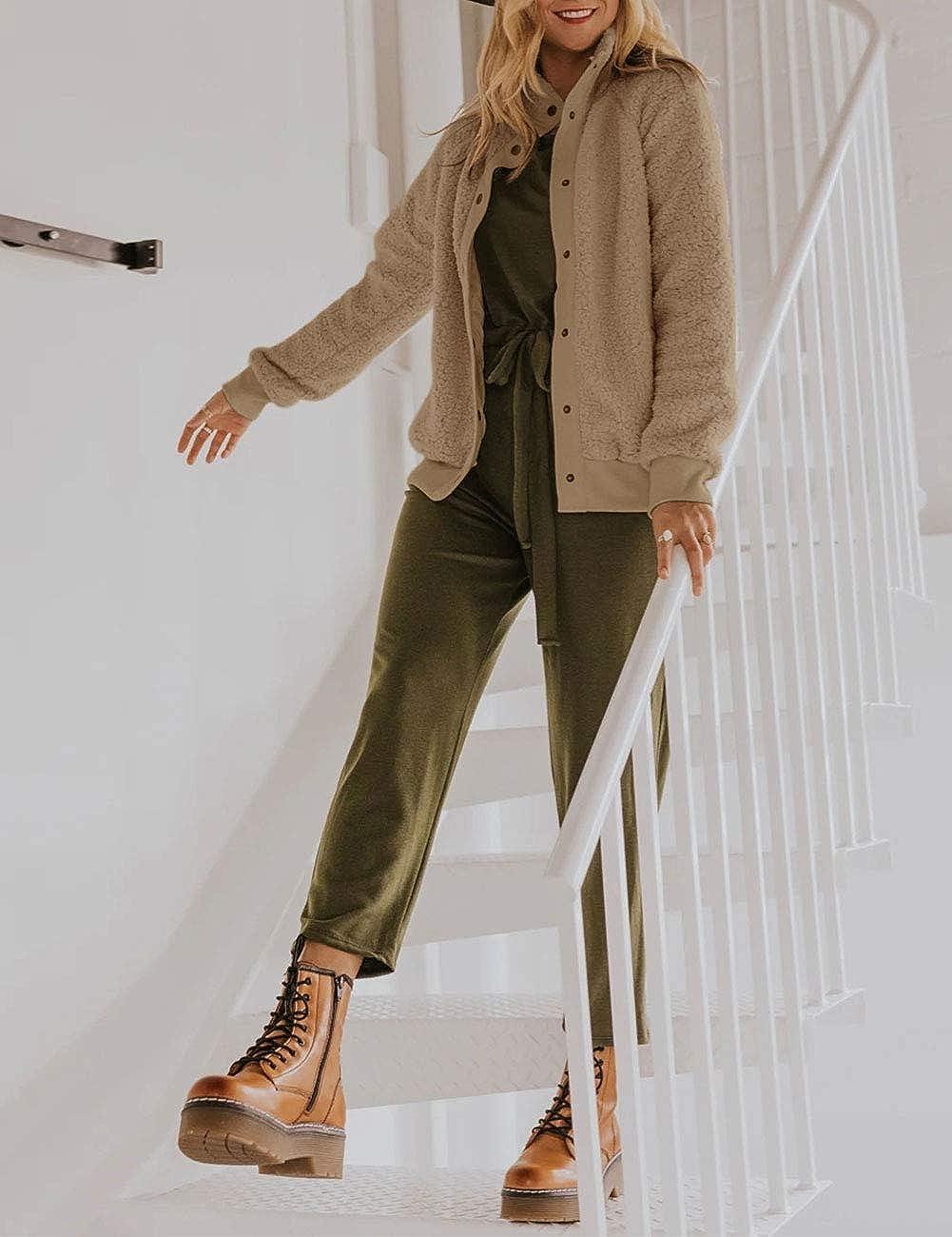 MEROKEETY Womens Winter Long Sleeve Button Sherpa Jacket Coat Casual Warm Fleece