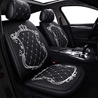 JOJOHON Crown Car Seat Covers, Fully Surrounded Unisex Seat,Winter Leather Seats Car,PU Leather and 3D Breathable Fabric (Black-White)