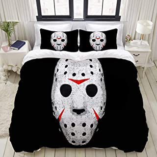 LUBATAGA Duvet Cover Set,Horror Movie Maniac, Decorative 3 Piece Bedding Set with 2 Pillow Shams,Queen