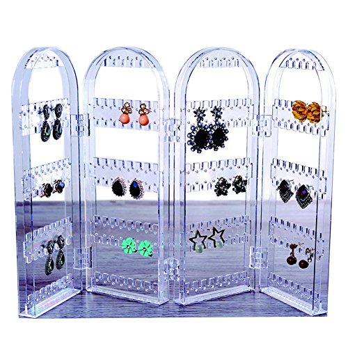JIPINSONA Earring Holder Jewelry Display Foldable Acrylic Earring, Necklace Holder 3 Folds Lucency Earring Display (Lucency)
