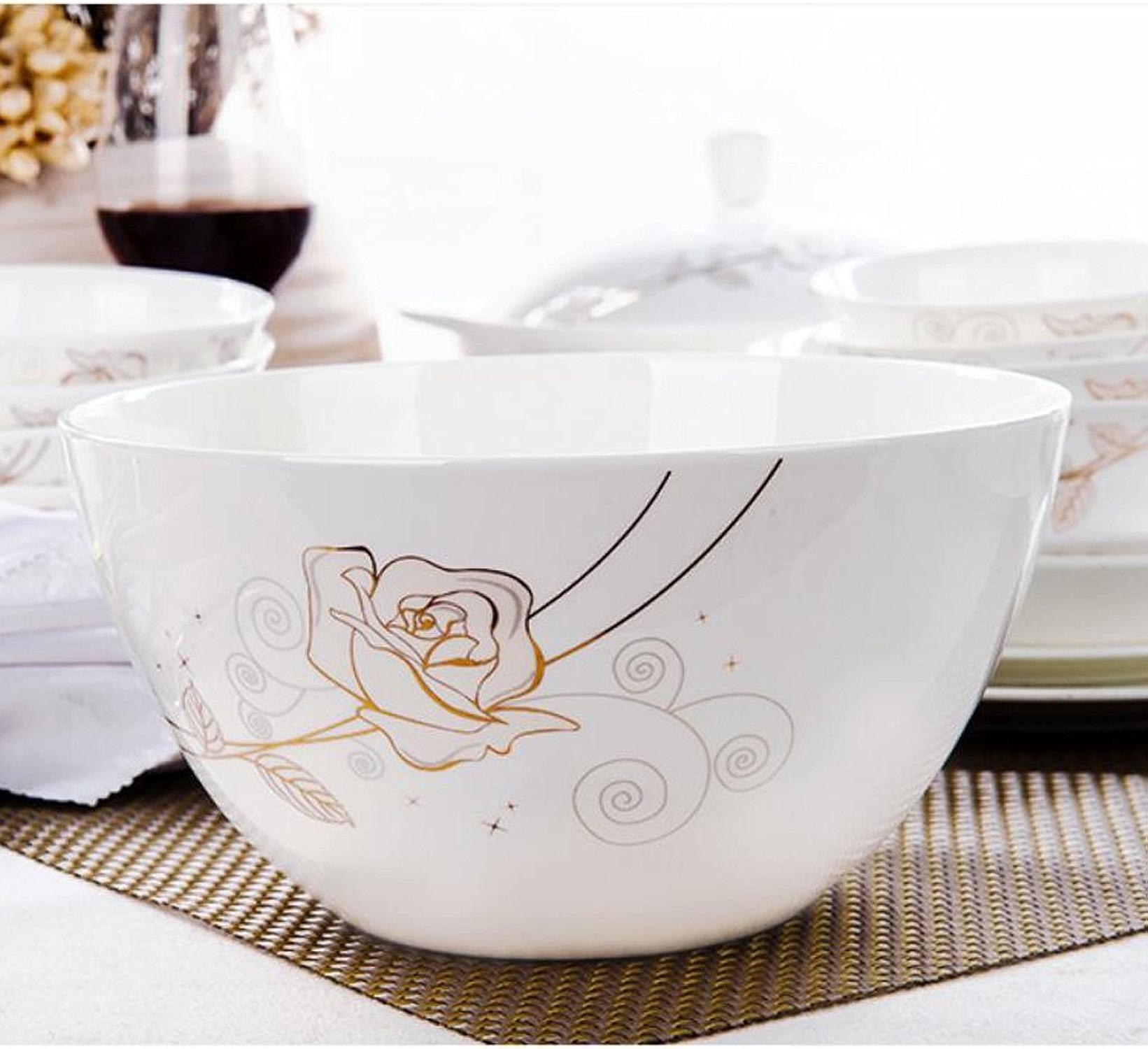 Bassin de soupe MXJ61 8 Pouces Soup Bowl Céramique Souffle Ustensiles Domestiques RaHommes Bowl 2 Pcs Set Envoyer Spoon (Couleur   A)