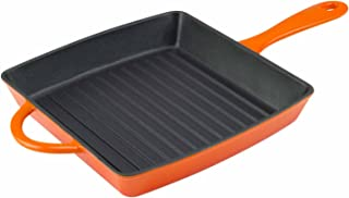 Zelancio Cookware Enameled Cast Iron Grill Pan - Square 10 Inch Pan is Perfect for Steak, Grilled Cheese, Panini's and more (Tangerine Orange)