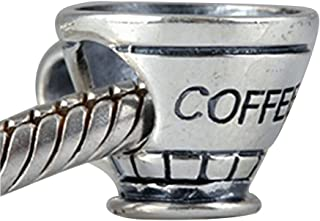 """Coffee Cup Charms 100% Authentic 925 Sterling Silver Letter """"Coffee"""" Beads for Pandora Bracelets"""