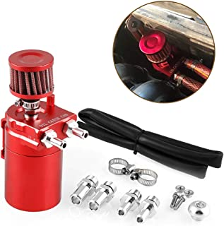 Tasan Racing Universal Aluminum Oil Catch Can Baffled Engine Air Oil Separator Reservoir Tank with Breather Filter Red