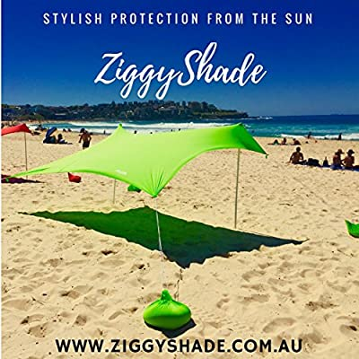 ZiggyShade Beach SunShade – Beach Tent + Sandbag Anchors & 4 FREE Pegs – UPF50+ Quality Lycra Fabric - Perfect Sun Shelter for Kids & Family at the Beach, Parks, Camping & Outdoors
