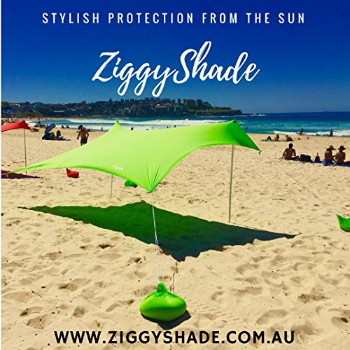 ZiggyShade – Beach Tent – Sun Shade – with Sandbag Anchors – UPF50+ (Jasmine Green, Standard)