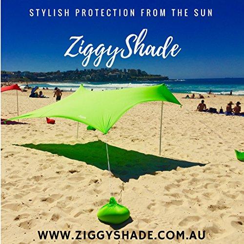 ZiggyShade UPF50 Lycra Fabric Family Beach Sunshade Tent with Sandbag Anchors and 4 Pegs, Jasmine Green