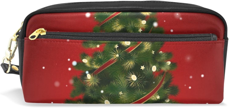 BENNIGIRY Weihnachtsbaum Bleistift Fall tragbar Pen Tasche Student Schreibwaren Pouch PU Leder Groß Kapazit&au ;t Reißverschluss Make-up Kosmetiktasche B0784ZRL3H | Ausgezeichnete Qualität