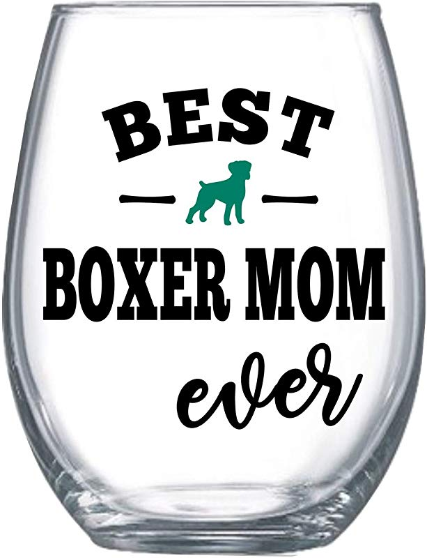 Best Boxer Mama Mom Ever Dog Gifts For Women Boxer Dog Stemless Wine Glass For Her Cup Idea 0234