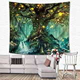 GuDoQi Tapisserie Dschungel Kreis Fantasy Malerei Tapisserie Wandteppich Wand Dekoration