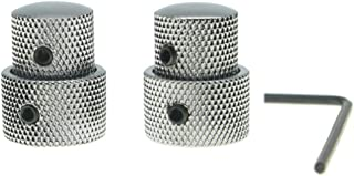 KAISH Pack of 2 Metal Dual Concentric Stacked Control Knobs Guitar Parts for Electric Guitar Bass Chrome