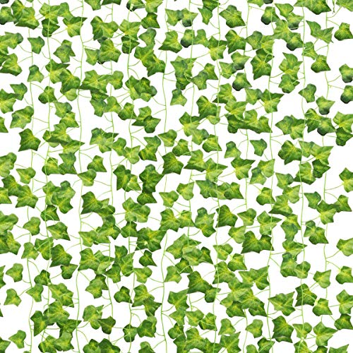 AUERVO Artificial Ivy, 10 Pack Artificial Garland Ivy UV Resistant Fake Leaves Plants Greenery Garlands Hanging for Home Kitchen Garden Office Party Wedding Wall Decoration (Each 80 inch)