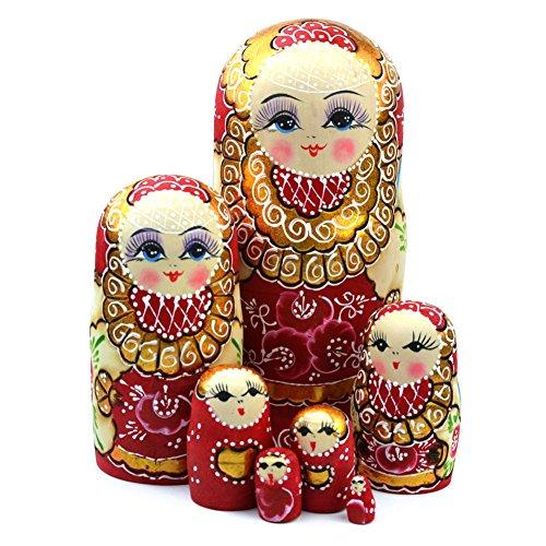 lzndeal Jeu d'imbrication Poupées Russes en Bois Tressé Fille Jouet Traditionnel Matryoshka Poupées pour Décoration,19,8 cm