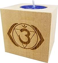 "Chakra 6 Ajna - Third Eye Chakra Candle (Indigo) - Engraved Wood Tea Light Block (2.5"") - Yoga Meditation Candle - Rainbow of Light - Yoga Candle - Chakra Meditation Candle-CHAKRA Balancing Candle"
