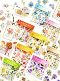 360 pegatinas Washi para scrapbooking, Plant Flowers Stickers for Diary Scrapbooking Notebook Planner Album Bottle Cup Cellphone