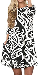 Women's Damask Floral Print 3/4 Sleeve Swing Tunic Shirt Dress with Pockets