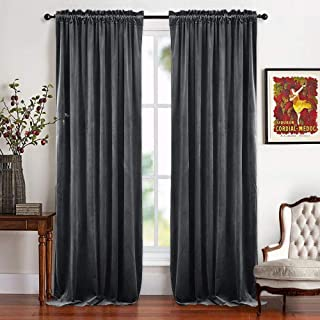 RYB HOME Grey Curtains Velvet - Light Block Thermal Insulated Drapes for Living Room Light Dimming Privacy Pleated Drapery for Bedroom Dining Apartment Church, 52 x 96 inches Long, Gray, 1 Pair