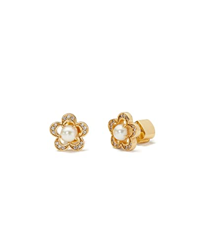 Kate Spade New York Jeweled Stencil Scallops Studs Earrings (Cream/Gold) Earring