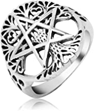 Sterling Silver Filigree Pentagram Pentacle Star Ancient Tree of life Symbol Round Band Ring 6