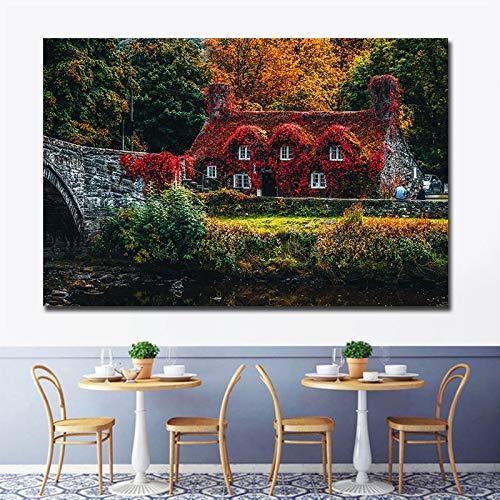 wZUN Cuadros de Paisaje Moderno decoración de Dormitorio Estilo escandinavo Cuadros de Arte de Pared decoración de Sala de Estar Familiar Impresiones en Lienzo 75x50cm