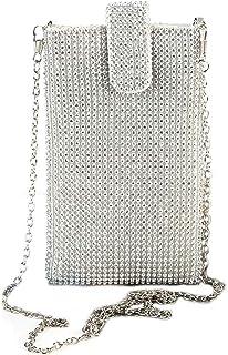 TENDYCOCO Umhängetasche Vertikale Handytasche Mini Crystal für Damen (Silber)