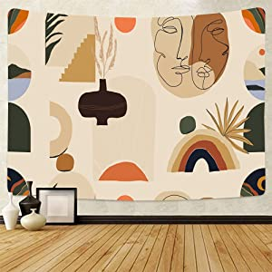 Boho Abstract Art Wall Tapestry Room Decor For Bedroom Plant Image Aesthetic Hippie Bohemian Living Room Wall Hanging(BMW2,150cm x 200cm(59''x 79''))