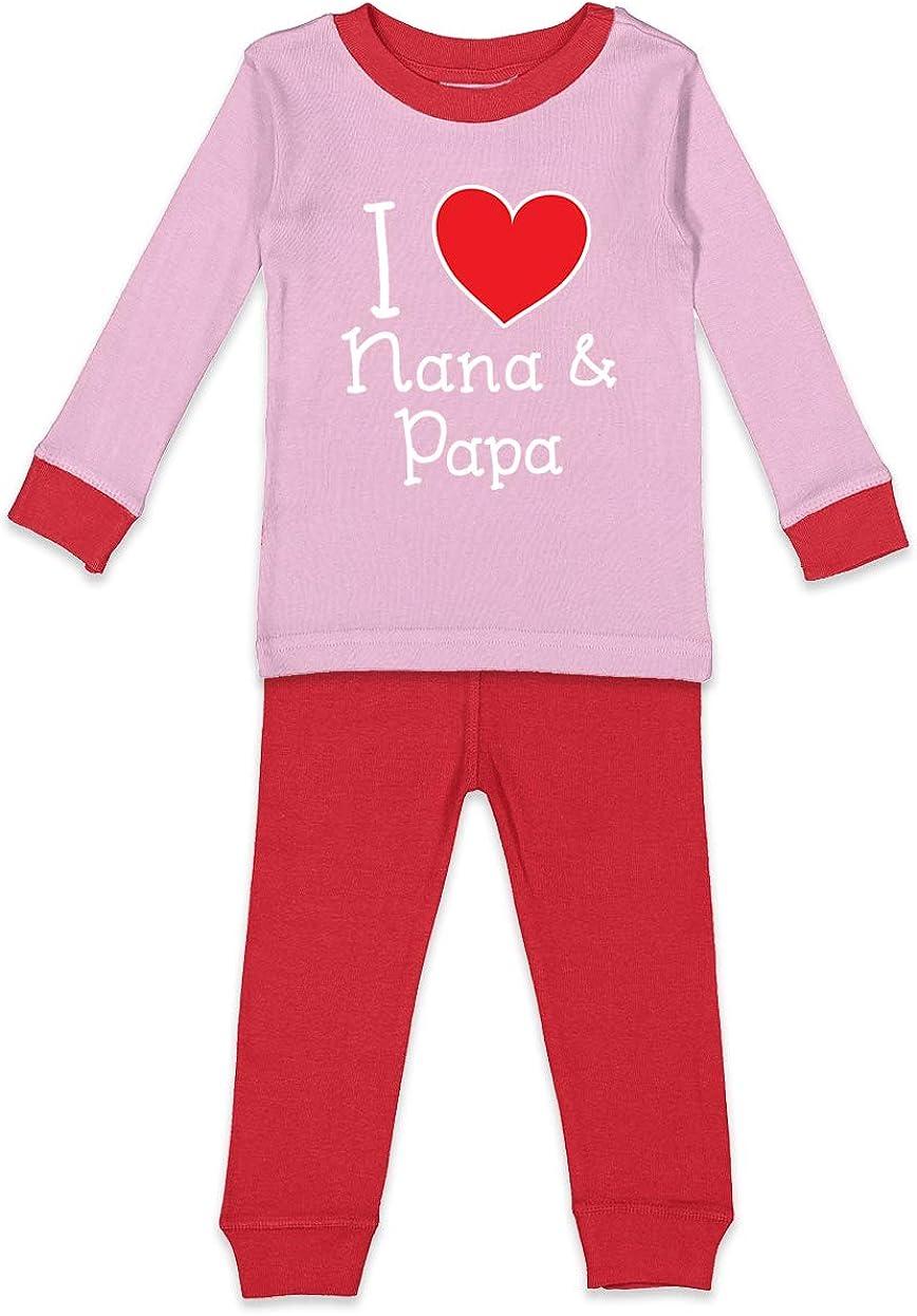 I Love My Nana /& Papa Heart Cute Kids Pajama Set
