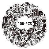 100 pegatinas impermeables góticas de calavera retro gótica en blanco y negro para ordenador portátil, coche, motocicleta, bicicleta, bicicleta.