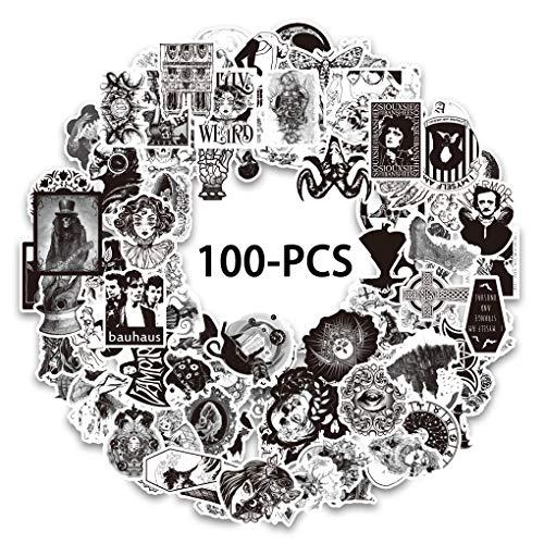 100 pcs negro y blanco gótico retro calaveras impermeables