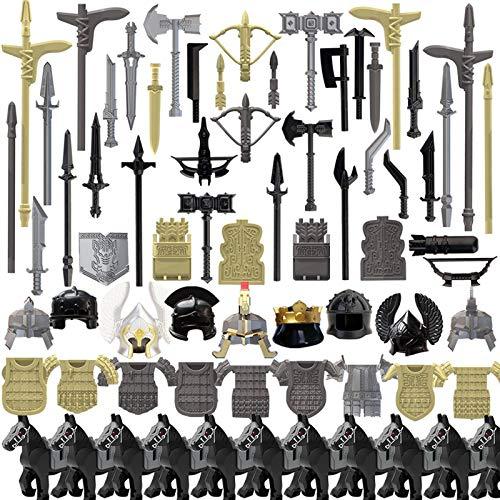 LICI Juego de minifiguras militares de armas, 78 piezas, estilo egipcio, casco de soldados, compatible con Lego