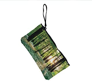 Canvas Coin Purse Zipper Coin Holder Mini Wallet Bags Cosmetic Makeup Bags,Wild Garlic Enchanting Wildflowers Blossoms