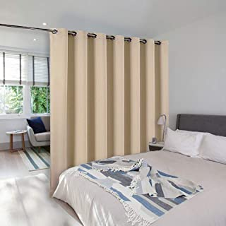 NICETOWN Room Dividers Curtain Screen Partitions, Blackout Blinds for Patio Door, Sliding Door Insulated Curtains, Extra Wide Curtain for Villa/Hall (Biscotti Beige, 1 PC, 8.3ft Width x 7ft Length)