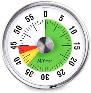 Mifuner 5-60 Minutes 3.1-Inch Mechanical Countdown Timer (No Battery) Three Colored Visual Disk Timer for Teaching Cooking...