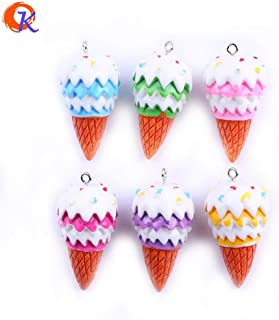 Davitu 10Pcs/Lot 3825mm Mix Color Ice-Cream Cone Pendant for Summer Holiday Necklace Pendant Making CDWB-517290