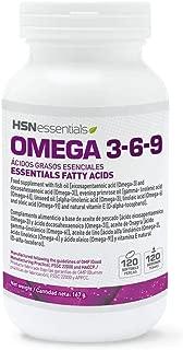 Omega 3 6 9 de HSN | Aceite de pescado, linaza y girasol | Ácidos Grasos Esenciales: Linolénico + Linoleico + Oleico | Con Vitamina E, Sin Gluten, Sin Lactosa, 120 perlas
