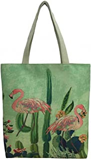 Women's Top-Handle Bags,Cotton Canvas Tropical Ethnic Style Flamingo Cactus Tote Bag Shopping Portable Bags