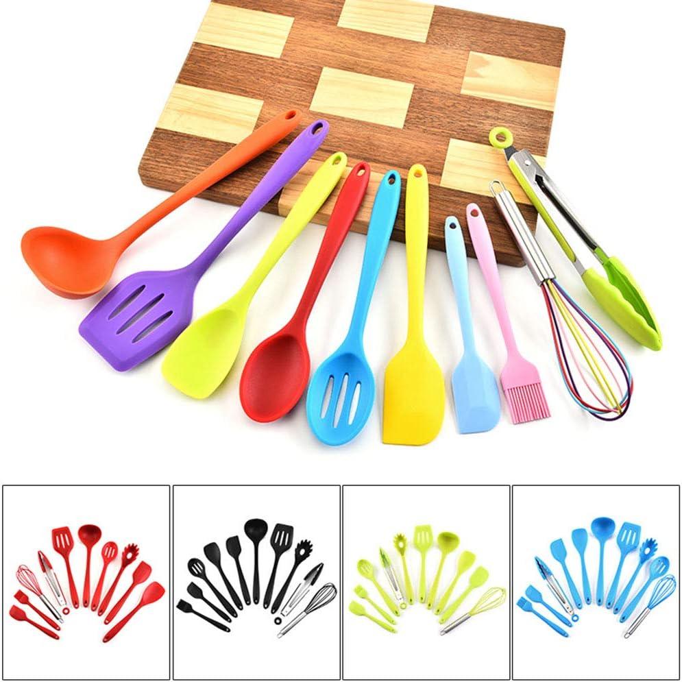 ZMDHL Couverts, 10 pièces de Cuisson complètes en Silicone et ustensiles de Cuisine, Batterie de Cuisine, Gadget de Cuisine,Green Red